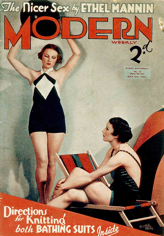 1930s magazine cover showing two women in swimwear