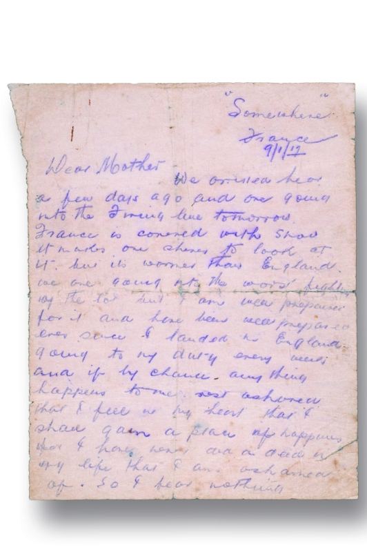 Letter from Paddy Bugden to his mother