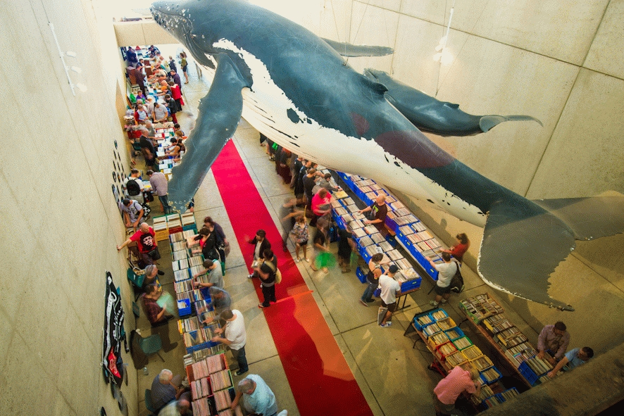 The iconic Whale Mall set up for a Record Fair